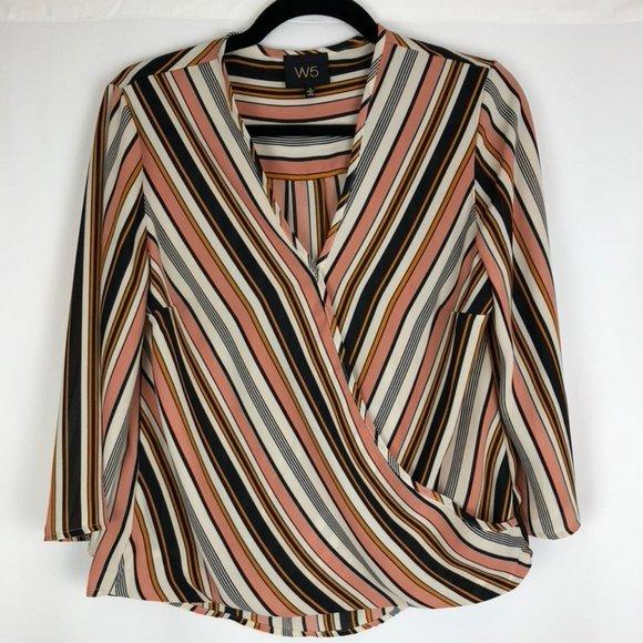 W5 Faux Wrap Stripe 3/4 Sleeve Blouse